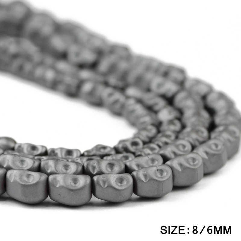 JHNBY Matte Schädel Schwarz Hämatit perlen Natürliche Stein Skeleton form 6/8MM Lose perlen für Schmuck armband Machen DIY Erkenntnisse