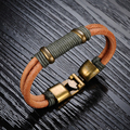 Wholesale 2016 new fashion fine jewelry tide men Brown Leather braided rope Double layer bracelets bangles male gifts LPH890