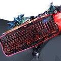 Русский/Английский Игровой Клавиатуры USB LED Проводная Клавиатура с 3 Режимов Подсветки USB Питание Полный N-Key Rollover