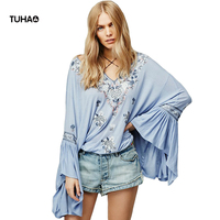 TUHAO Autumn Bohemian Blouse Women Tops Flare Sleeve Drawstring Halter V Neck Loose Floral Embroidery Blusas