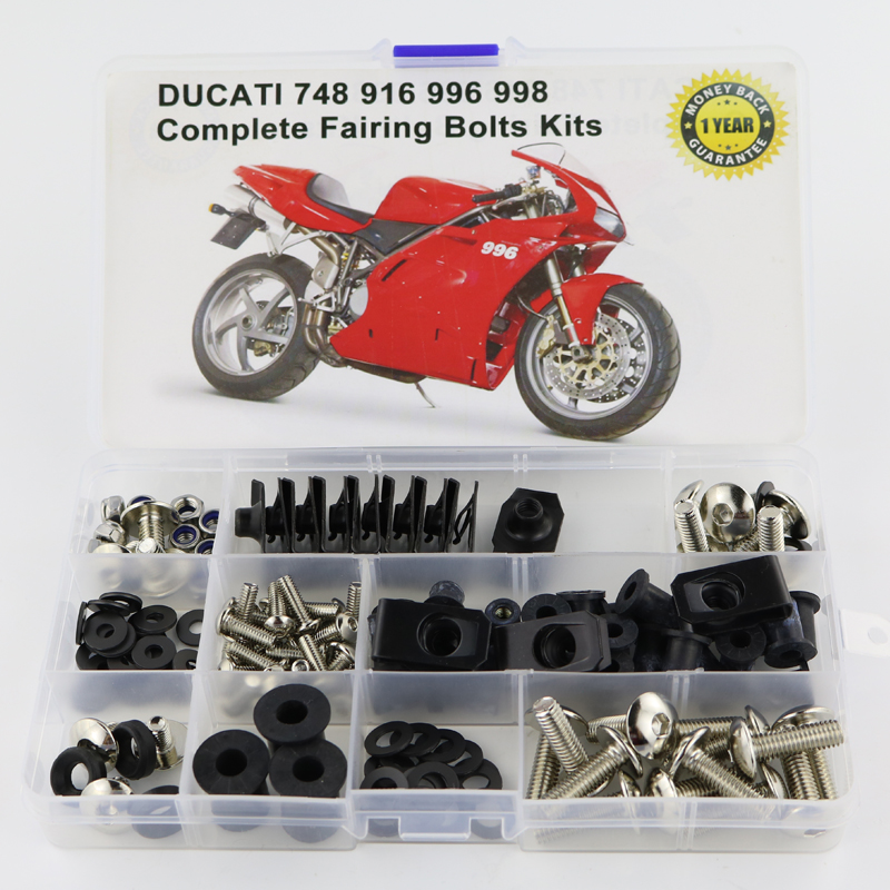 Для Ducati 748 916 996 998 аксессуары для мотоциклов Полный Обтекатель Болты комплект с OEM стиль шайба крепежные зажимы гайки винты сталь - Цвет: Silver