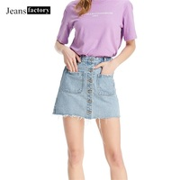 Denim Skirt High Waist A line Mini Skirts Women Summer skirts Single Button Pockets Blue slim Jeans Skirt faldas mujer moda 2019