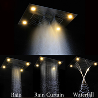 Modern Showerheads 600*800mm LED spray head remote control led color 304 stainless steel rain mist waterfall