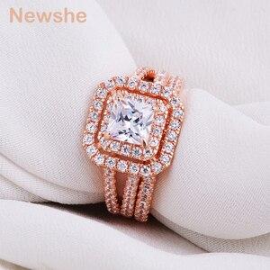 Image 3 - Newshe 2 ชิ้น Rose Gold สีงานแต่งงานชุดแหวนสำหรับผู้หญิง 925 เงินสเตอร์ลิงแหวนหมั้น Princess CUT AAA CZ แฟชั่นเครื่องประดับ
