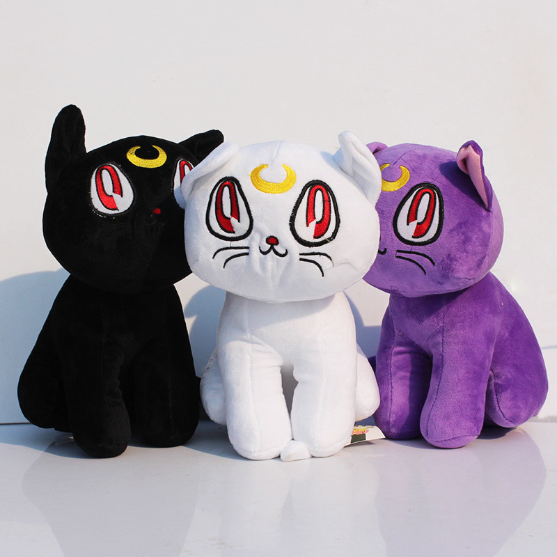 "12""30cm Kawaii Anime Sailor Moon Cat Luna Artemis Plush Toy Purple Black White Color"