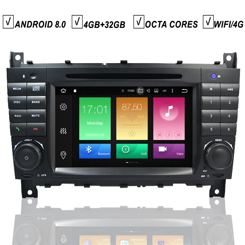 Car DVD <font><b>GPS</b></font> Player <font><b>Android</b></font> 8.0 Auto Stereo For <font><b>Mercedes</b></font> Benz <font><b>W203</b></font> W209 W219 C180 C200 Octa Core 4GB RAM+32GB ROM Radio Wifi DAB+ image