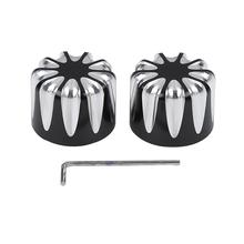 Motorcycle Black/Chrome Front Axle Nut Covers For Harley Dyna Softail Fat Bob Touring Electra Road Glide FLSTC FLHT XG 500 XG750