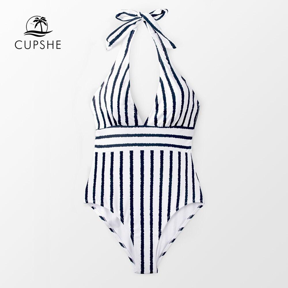 CUPSHE Navy And White Stripe Bow Halter One piece Swimsuit Women Sexy Beach Bathing Suits 2019 Girl Boho Monokini Swimwear