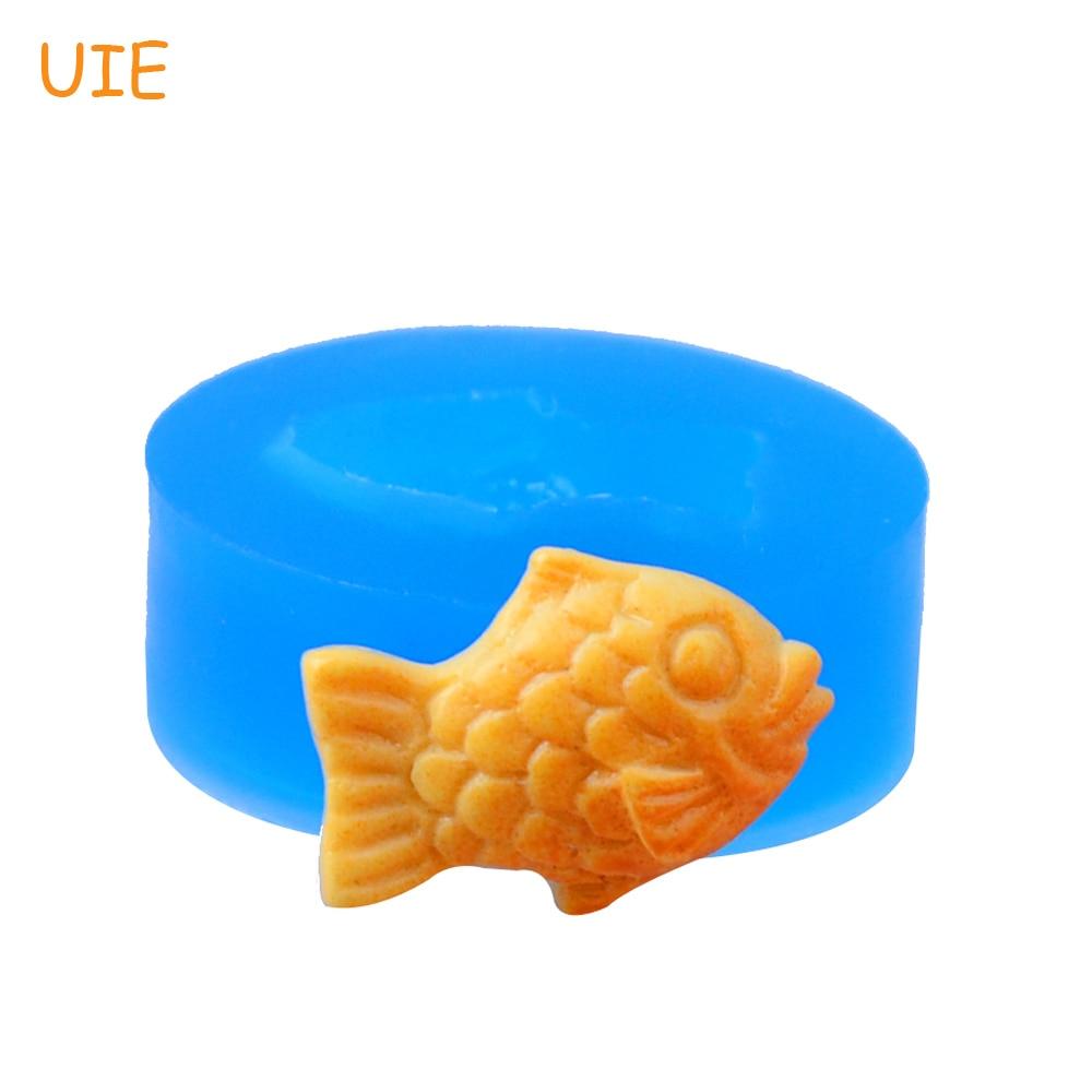 QYL411U 18.7 мм рыбы Cookie Силиконовые формы для десерта, помады, Sugarcraft, печенье, ювелирная смола, конфеты, Еда безопасный Воск