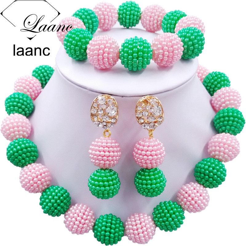 Laanc Latest Green and Pink African Beads Jewelry Set for Women Nigerian Wedding Necklac ...