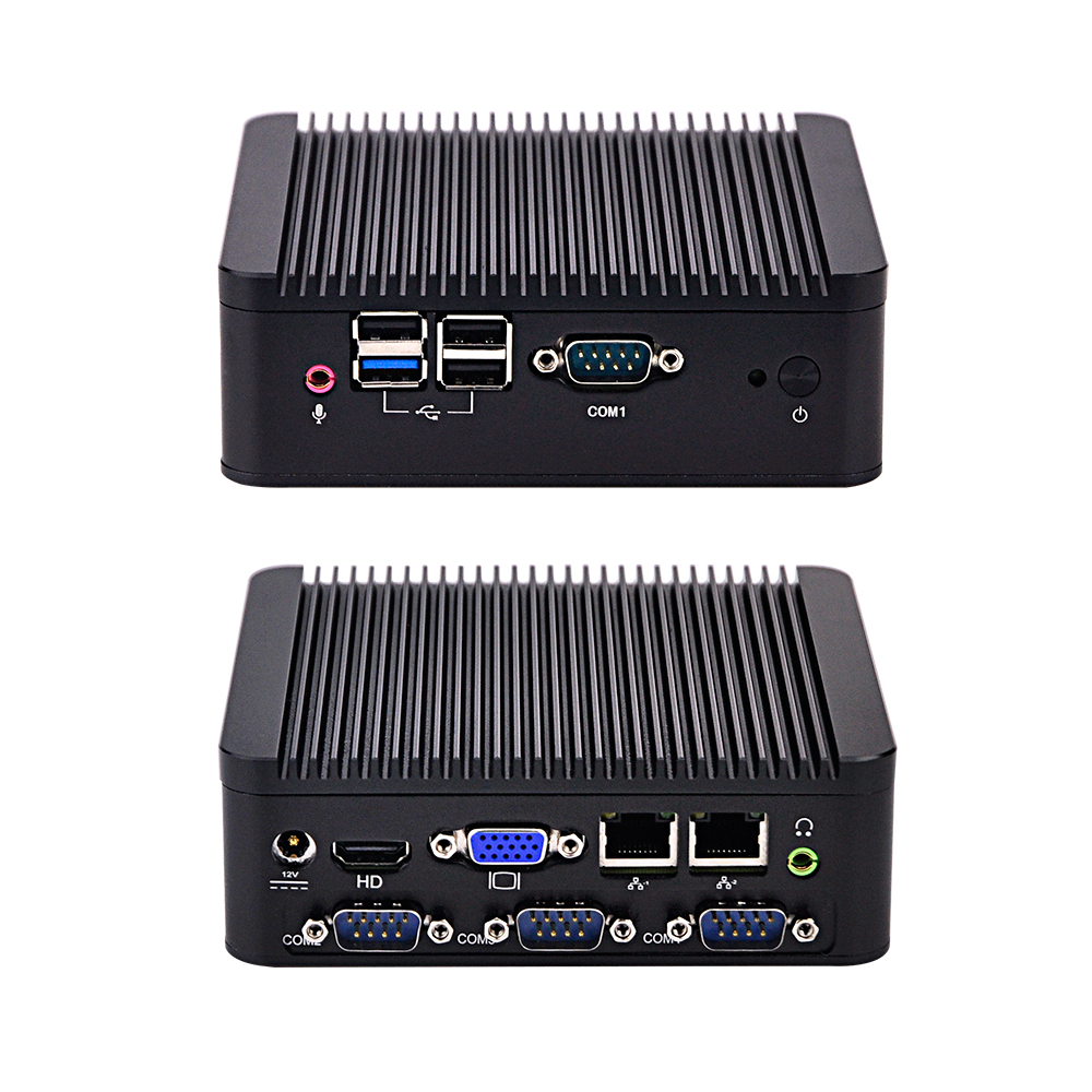 Qotom Q190P POS PC Low Cost Fanless Barebone With 4 RS232 With Baytrail J1900 Processor Quad Core Dual Lan Industrial Mini Pc