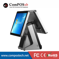 POS Printer 15 Inch TFT LCD Flat Screen Capacitive Touch Screen Double Screen All In One