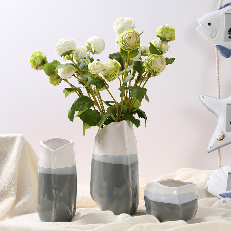 Europe Small Fresh Ceramic Vase mini Triangle vases Hydroponics dry flower containers tabletop Crafts vase home wedding decorati