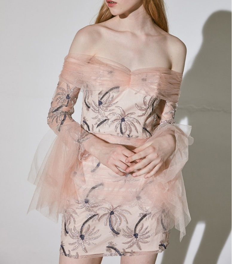 Уличный шик, милое Сетчатое мини платье с вышивкой кокосовой пальмы, женское сексуальное розовое платье с вырезом лодочкой, летние вечерние платья 2019 - 4