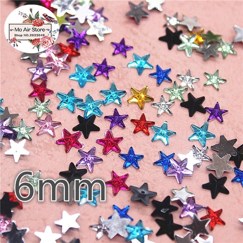 1000pcs 6mm shiny mix color star Acrylic rhinestone Flat back Cabochon Art Supply  Decoration Charm Craft 83de2420157b