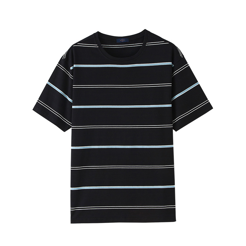 2018summer casual roundneck tshirt mens cotton stripes fashion T-shirt mens high-quality ...
