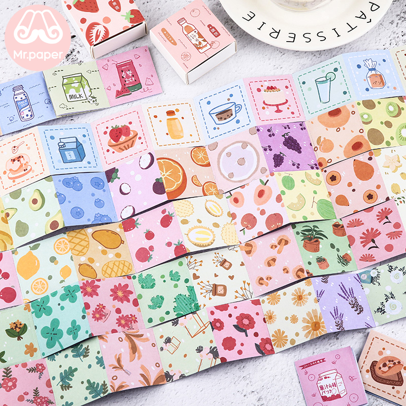 Mr.paper 48Pcs/box Cute Fruit Snack Juice Flowers Scrapbooking Deco Stickers Japanese Kawaii Creative Stickers Easy To Tear