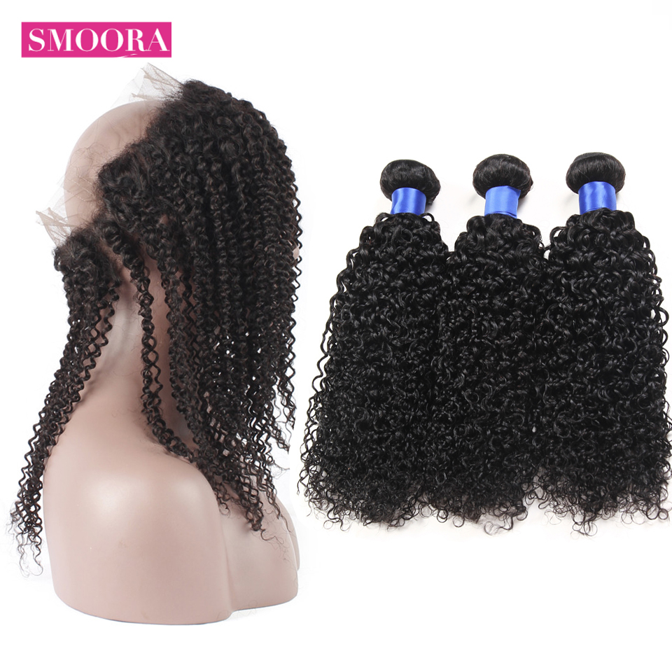 3/4 Bundles With Closure Painstaking Malaysian Kinky Curly 360 Lace Frontal With Bundle Pre Plucked 360 Frontal With 3 Bundles 100% Human Non Remy Smoora Hair Weave To Enjoy High Reputation At Home And Abroad