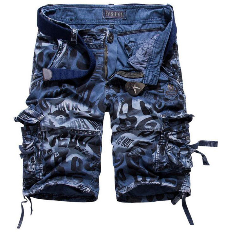 Mens Camouflage Shorts Printed Military Cargo Shorts 2017 New Army Shorts Loose Fit Work Casual Short Pants Plus Size 29-42