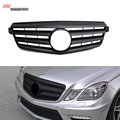 W212 2-Fin Style ABS Front Grill Grille with Mercedes Big Star Logo for Benz 2010 - 2013 E Class Vehicles Matte Black