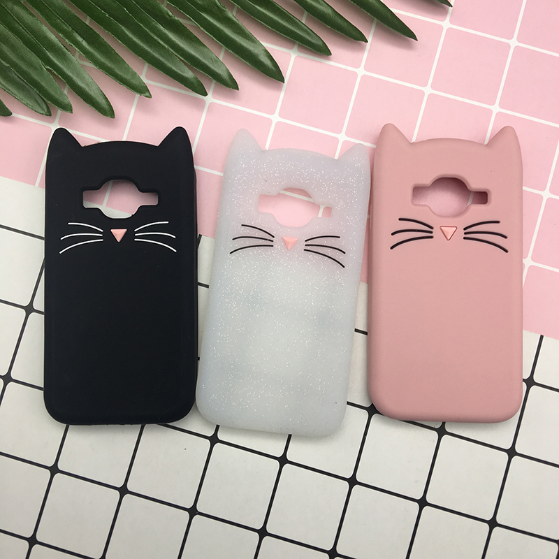 Cute Japan Glitter 3D Silicon Beard Cat Cartoon Soft Phone Skin Cover Case for Samsung Galaxy J1 mini Prime J106H phone Shell