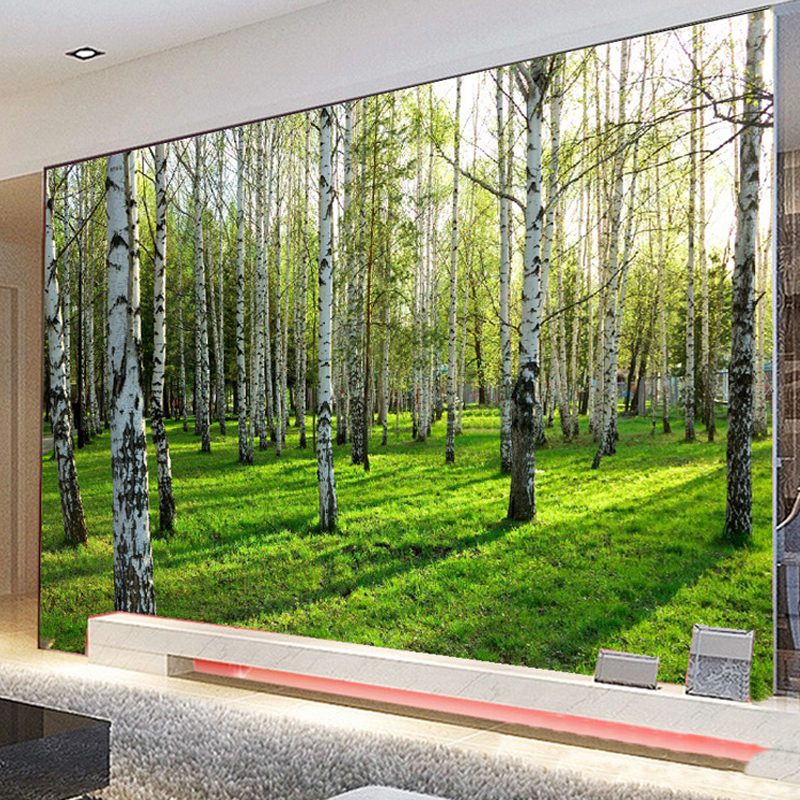 Birch Forest Photo Wall Paper Customized 3D Natural Scenery Mural Wallpaper Living Room Bedroom Sofa TV Background Wallpaper custom 3d three dimensional mural wallpaper living room bedroom sofa tv background wallpaper green birch forest photo wallpaper