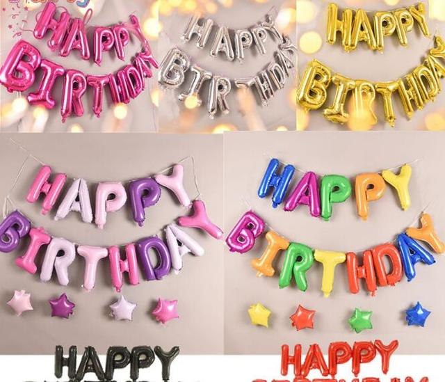 Metallic Happy Birthday Letters Colorful Foil Balloon Party Decorative Supplies Wall Decor Takeaways Favor Kids Toys