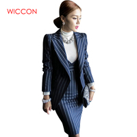 New Autumn Women Striped Office Lady Dress Suits 2 Two Piece Sets Elegant Notched Jacket Blazer + Fashion Sheath Dresses Femme