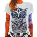 2016 Hot Sale Shirt Women Owl Printing Loose Short Sleeve Casual camisas femininas Tops Summer T-shirt blusa cropped female #OR