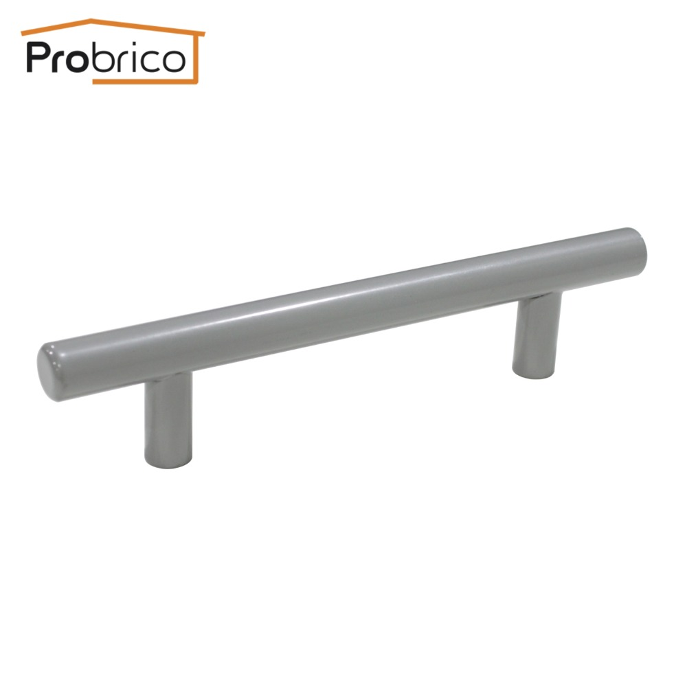 Probrico 100 PCS Grey Stainless Steel Diameter 12mm Hole to Hole 96mm Cabinet T Bar Knob Furniture Drawer Handle Pull PD201HGY96 вьетнамки steel grey