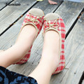 2017 new Weave women flats sweet bow lattice zapatos mujer chaussure femme talon round toe causal cotton fabric schoenen vrouw
