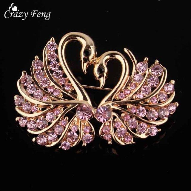 Crazy Feng Fashion Full Crystal Rhinestone Swan Brooches For Women Cute Coat Sca