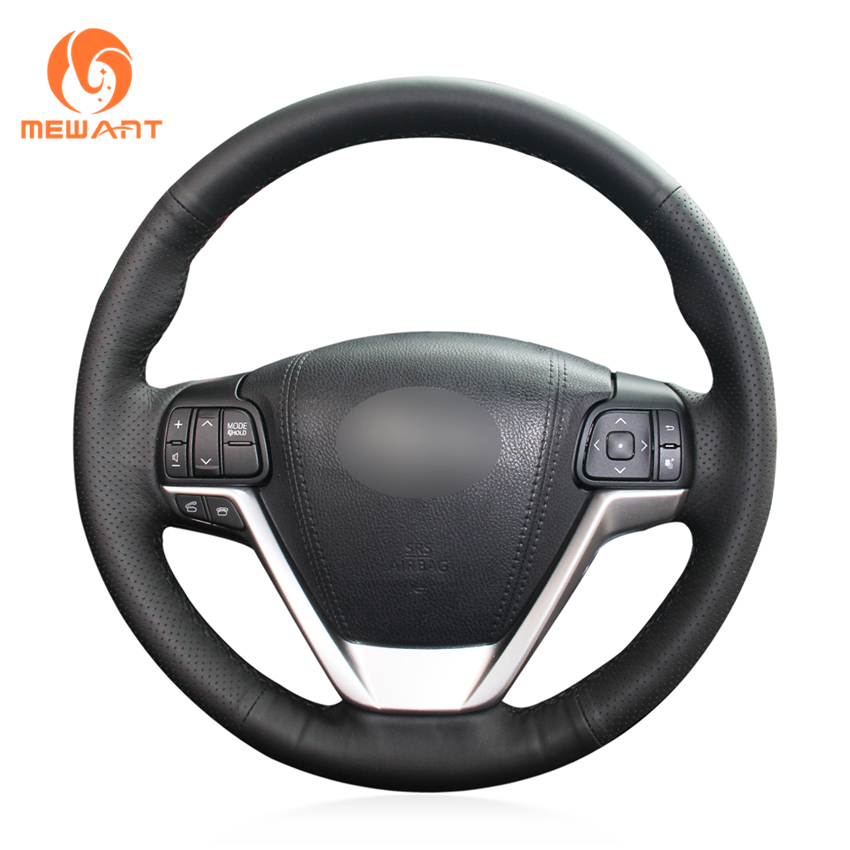 MEWANT Black Genuine Leather Car Steering Wheel Cover for Toyota Highlander 2015 2016 2017 Sienna 2015-2017