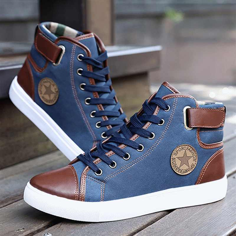 Men Shoes Sapatos Tenis Masculino Male Autumn Winter Front Lace-Up Leather Ankle Boots Shoes Man Casual High Top Canvas Men