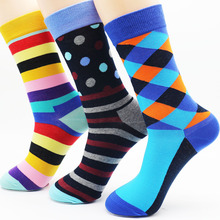 New men's high quality cotton diamond socks fashion stripes cheap leisure gifts socks wholesale(3 pairs)