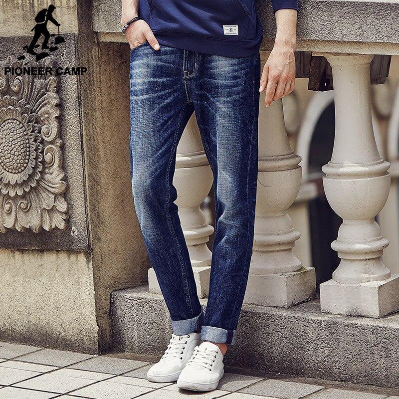 Pioneer Camp 2017 New design jeans men Famous Brand Men Slim Jeans male 100% Cotton Straight pants Long denim Trousers 611021 new 2016 famous brand men jeans male straight thin summer jeans long man trousers slim young man denim pants jeans for men ml30
