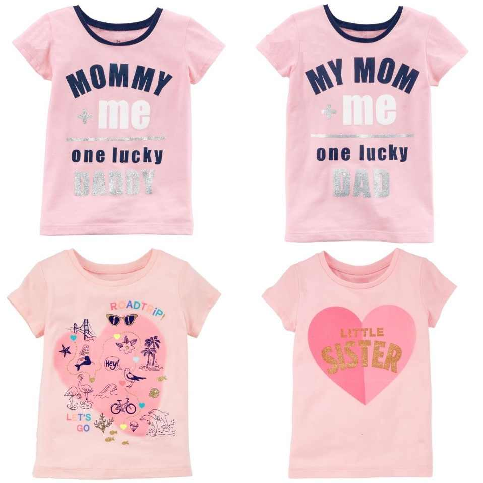 7e610b15900 Pink Baby Girl Tees Shirts Cute Mommy Daddy Heart Children Outfits Newborn  Clothes T Shirts Tops