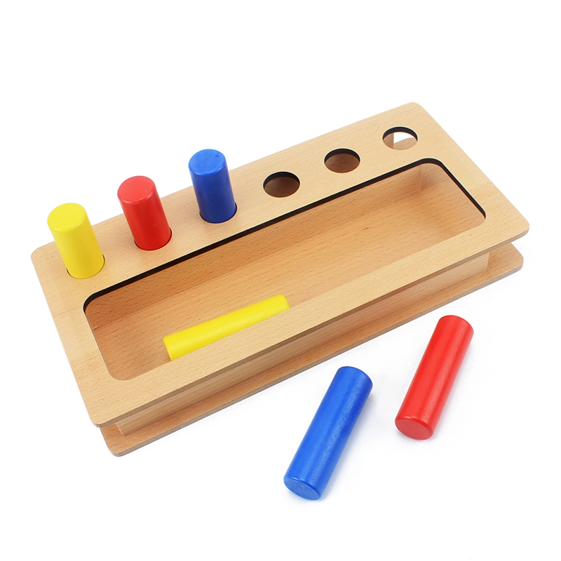 Montessori Materials Kids Toy Baby Wood Tri-color Cylinder Insert Box Learning Educational Preschool Training Brinquedos Juguets Moderate Price Home