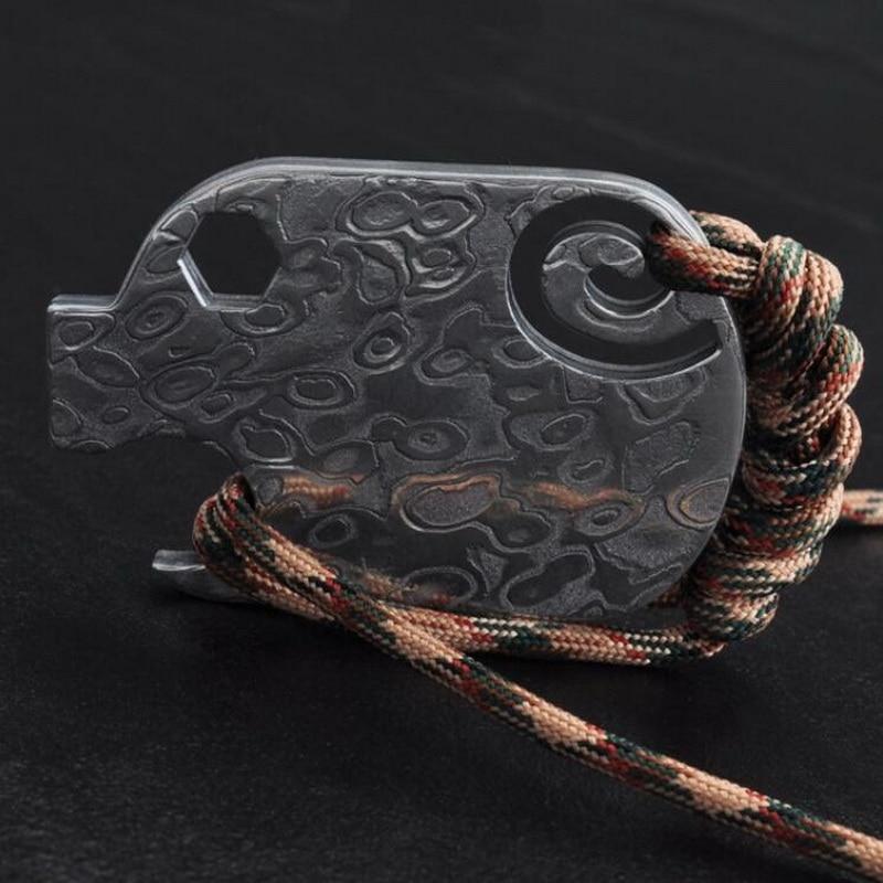 Titanium alloy handy multifunctional tool, Damascus steel can opener edc wrench key pendant, portable bottle opener. multi function stainless steel can bottle opener silver