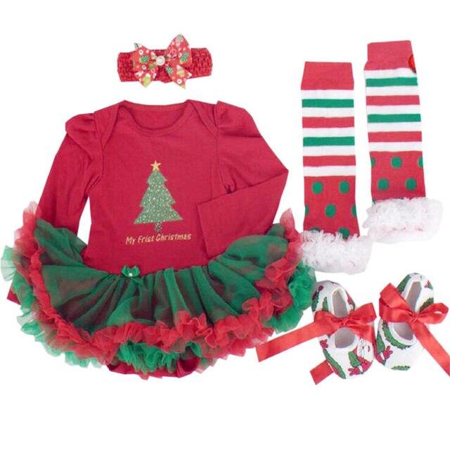 db35d4b9f Regalos infantiles mi primer conjunto de ropa Navidad para bebés niñas mono  algodón recién nacido volantes tutú vestidos 4 piezas conjuntos