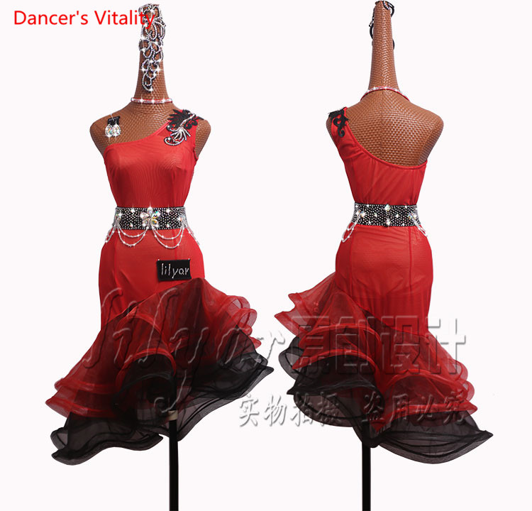 Professional custom made Latin Dance Dress Women Dancing Competition Clothes Black Red Oblique Shoulder <font><b>Coiling</b></font> Dress image