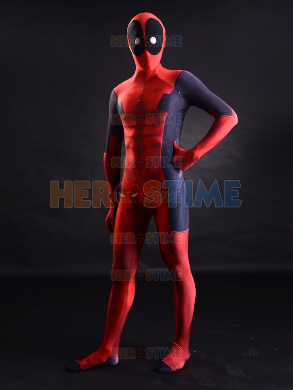 Deadpool Costume 3D Printing Red And Black Deadpool Superhero Costume Halloween Cosplay Zentai Suit Free Shipping