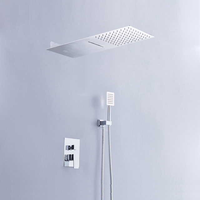 BAKALA 3 Way Brass Control Valve With Stainless Steel Rainfall Shower Head  And Waterfall Shower Head