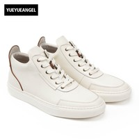 High Quality Mens Genuine Leather Casual Shoes Lace Up Round Toe Classic Footwear High Top White