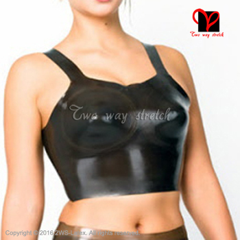 Black Latex Corp top Rubber Bra Bralette Brassiere Crop Top Lingerie bustier plus size XXXL NY