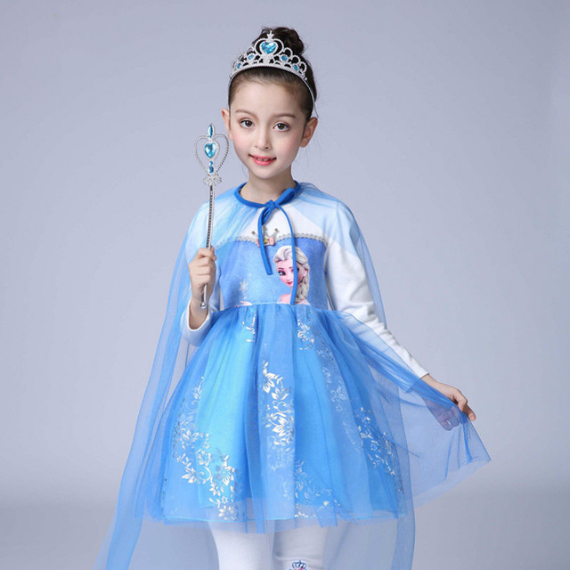 0938f961556537 Hot Baby girl dress Snow Queen Elsa Anna princess dress Cotton pants Girls  set Dress+Leggings+Crown Christmas Halloween dresses