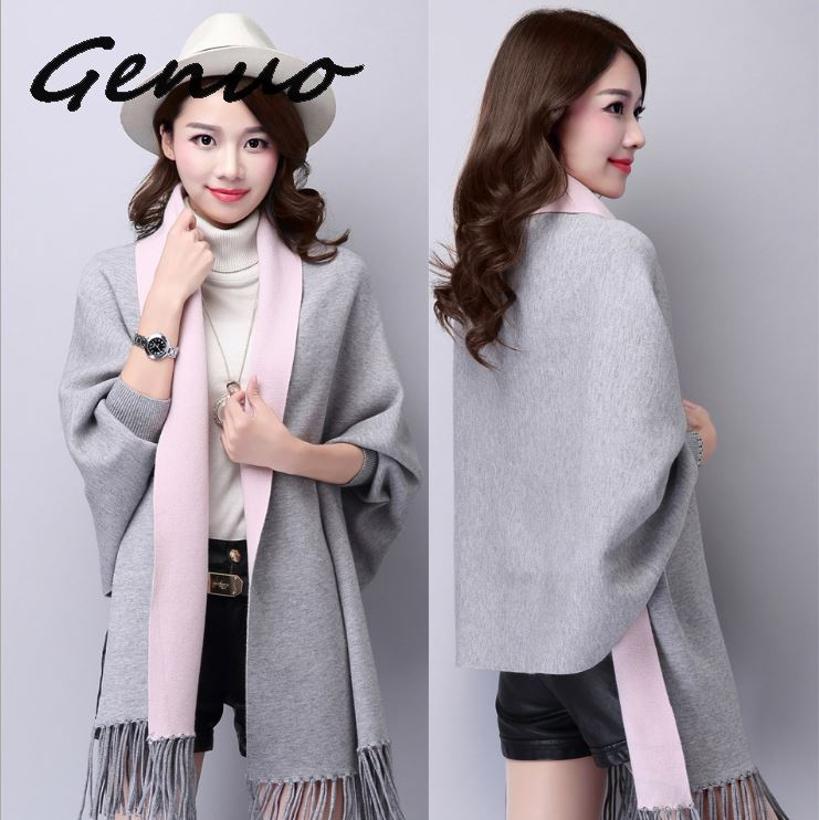 Genuo New Tassel Ponchos And Cap 2019 Autumn Winter Long Cardigan Female  Batwing Sleeve Warm Knitted Cardigans Women Sweater