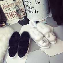2017 new plush shoes female autumn and winter tassel flat shoes with thick cotton velvet shoes Korean version of the rabbit shoe