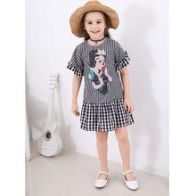 Girls Princess Dress New 2019 Spring Summer Girls Dress Kids Cotton Black White Plaid Sequin Dress Cute Dog Pattern Dresses