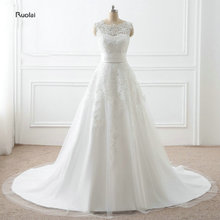 2017 In Stock New Arrival Elegant Lace Appliques Wedding Dresses O-Neck Sleeveless Bridal Gown With Detachable Skirt